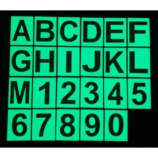 Letras e números fosforescentes em PVC